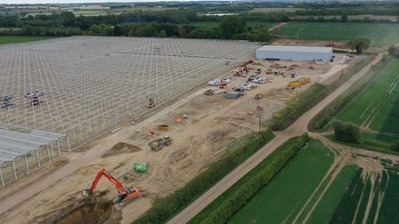 A huge low-carbon tomato greenhouse is being constructed at Place Farm outside Bury St Edmunds. Pict