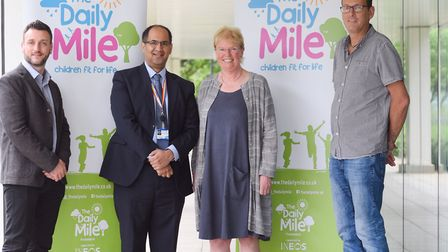 Jim Cleaver, far right, pictured in 2017 with founder of The Daily Mile, Elaine Wyllie, James Payne