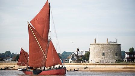Thames barge Melissa enters the Deben - the book Life on the Deben is discussed at Felixstowe Book F