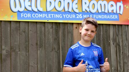 Roman O'Connor, 11, was in a head-to-head charity challenge with younger brother Dexter, 8 Picture