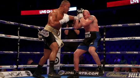 Fabio Wardley in action against Mariano Ruben Diaz Strunz at the O2 Arena, London.