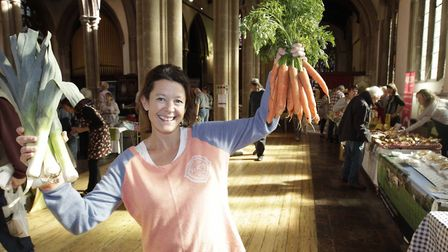 Justine Paul, of Suffolk Market Events, reopens on Market Hill, Sudbury Photo: Nigel Brown