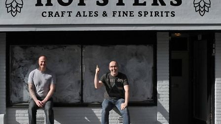 Steve Long and Ed Barnes outside of Hopsters when it opened in 2017 Picture: Sarah Lucy Brown