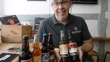 Ed Barnes pictured with a selection of ales Picture: David Vincent