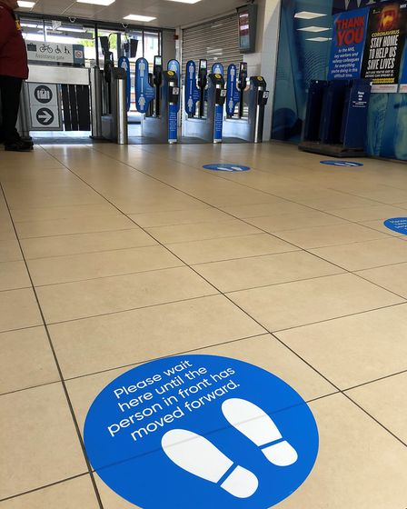 Floor markings are set to be more common across public areas and stores in Suffolk. Picture: GREATER