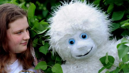 Denna Ewing finds a Yeti in her Nowton Road garden Picture: ANDY ABBOTT