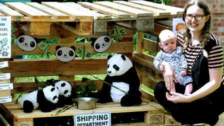 Train organiser Jessica Rudd and her four month old son Hunter with their giant pandas in Grange Wal