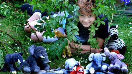 Archie Abbott on his 12th birthday with his elephant enclosure in Grange Walk Picture: ANDY ABBOTT