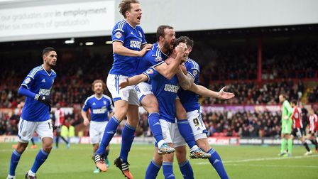 Tommy Smith celebrates after scoring Ipswich's fourth at Brentford on Boxing Day in 2014