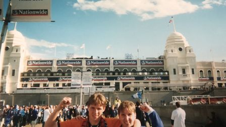 Stuart Goldsmith, left, with brother Neal outside the old Wembley Stadium before Ipswich Town's play