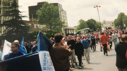 Ipswich Town fans outside Wembley before the play-off final win over Barnsley on May 29, 2000. Pictu