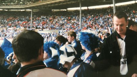 Ipswich Town fans inside Wembley for the play-off final win over Barnsley on May 29, 2000. Picture: