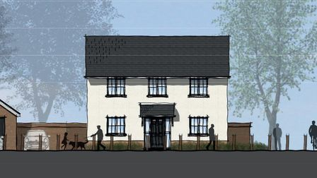 The design of one type of house which will be built in the new estate off Thorney Green Road, Stowup