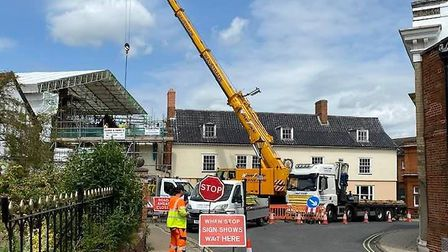Oak being brought in by crane for the new building Picture: DAVID PATRICK