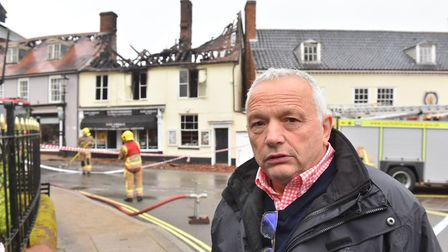 David Patrick, owner of D C Patrick Newsagents in Halesworth in the aftermath of the fire Picture: N