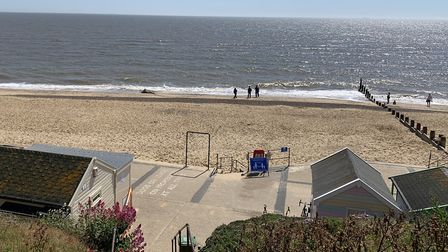 The whale's body was washed up on Southwold beach early on Sunday. Picture: SIMON TOBIN