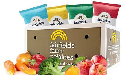 Fairfields Farm's delivery box that contains crisps, fruit and veg - all for £30 Picture: Fairfields