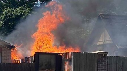 Firefighters are at the scene of a building fire in Nacton Road. Picture: SHAUN KING