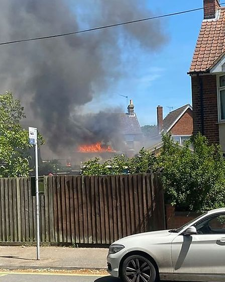 Firefighters are battling a fire in Ipswich, Nacton Road, this afternoon. Picture: SHAUN KING