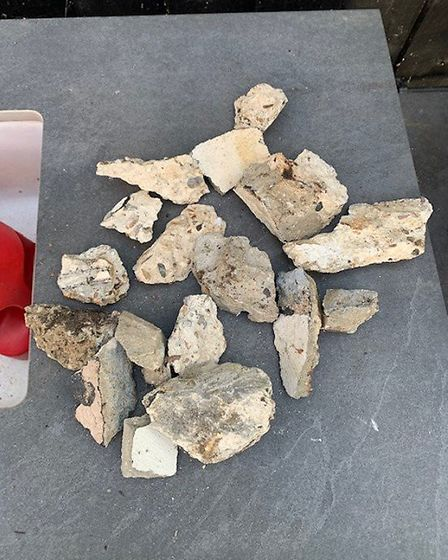 Will Colson collected this pile of concrete chunks that fell from Trimley Water Tower and into his g