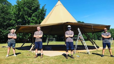The Events Under Canvas team, who put up the two tipis at East Bergholt Primary School. Picture: EVE