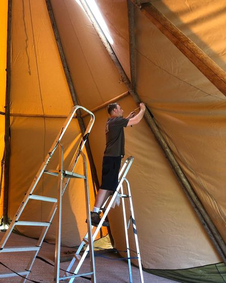 The team from Events Under Canvas put the tipis up at the school grounds in East Bergholt during hal