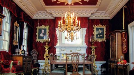 One of the first rooms Emma did, featuring real silk fabric on the walls Picture: Emma Waddell