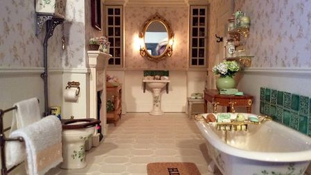 One of Emma's intricately restored dolls house bathrooms Picture: Emma Waddell