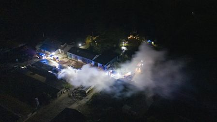 Twelve crews tackled the blaze for more than two hours Picture: SKY CAM EAST