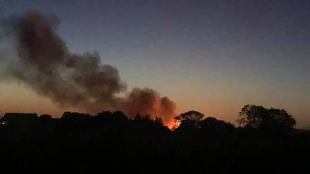 The beach hut fire in Wrabness was spotted as far away as Church Road. Picture: NICHOLA MOFFAT