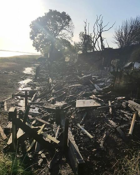Five beach huts were completely destroyed by the fire in Wrabness, near Manningtree. Picture: MATT C