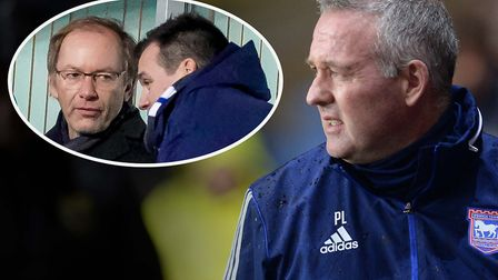 Ipswich Town manager Paul Lambert with owner Marcus Evans and general manager of football operations