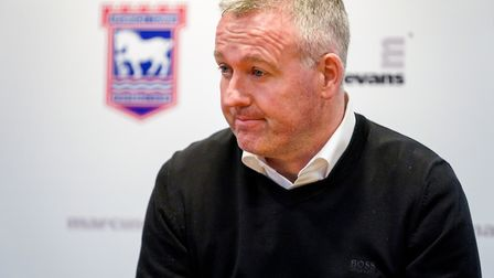 Town manager Paul Lambert pictured during his post match press conference following defeat to Covent