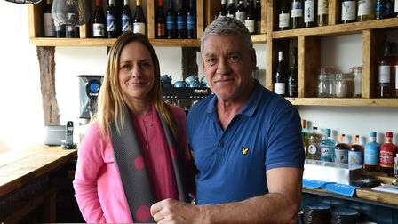 Owners of the Cobblers cafe and wine bar in Hadleigh, Fay Carfoot and Rob Wicks Picture: CHARLOTTE