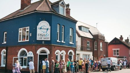 You may not be able to queue quite so closely outside the Aldeburgh fish and chip shop now but we ca