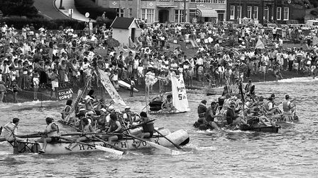 Thousands packed the beach at Felixstowe for the annual Round Table raft race in 1987 Picture: ARCHA