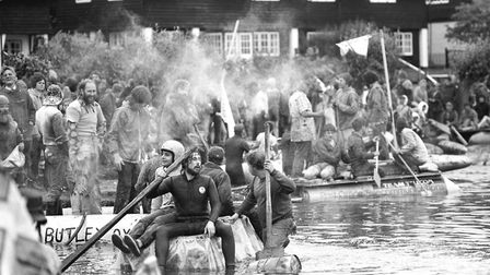 Intense action from the Thorpeness Raft Race as teams raced in homemade rafts on the waters in 1980