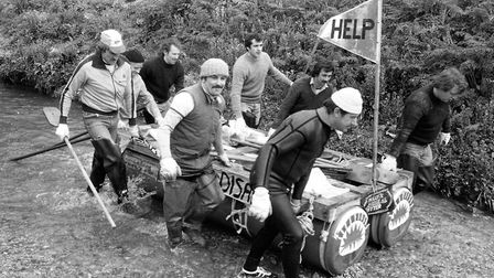 Competitors at the Stowmarket ICI raft race in April 1981. Picture: ARCHANT