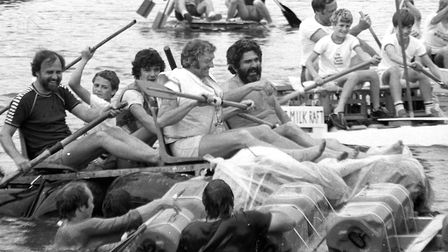Messing about on the river at the Bures raft race in 1984 Picture: ARCHANT