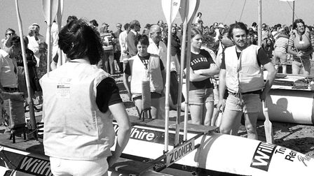 Getting ready for the start of Southwold Raft Race in August 1977 Picture: ARCHANT