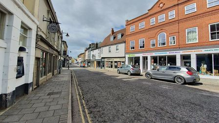 Market Hill in Sudbury pictured before the non-essential shops re-opened on June 15. Picture: GEMMA