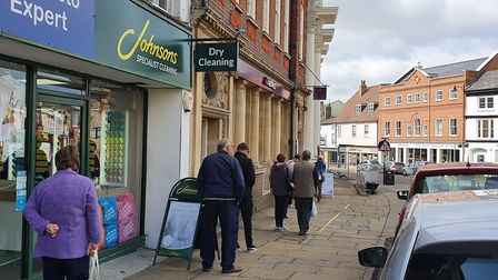 The NatWest bank on Market Hill in Sudbury is aleady maintaining the two-metre distancing rule whil