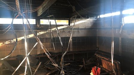 The changing rooms at Hadleigh Rugby Club were destroyed in the fire earlier this week Picture: CHAR