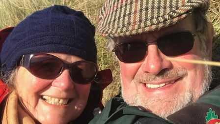 Dave and his wife Christine, from Glemsford, on a walk as part of his lifestyle change to deal with