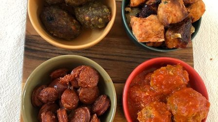 Some of the Casa tapas dishes. Clockwise, from top left, lamb koftas, Brazilian spiced chicken, Span