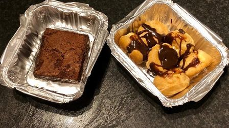 The desserts from Casa - chocolate brownie and profiteroles