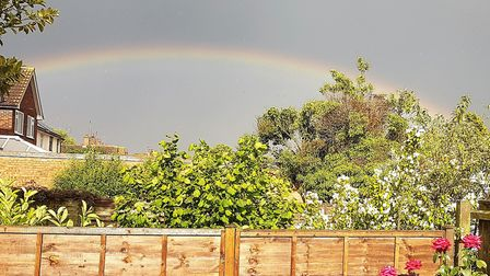 A rainbow over north west Ipswich. Picture: PAUL GEATER