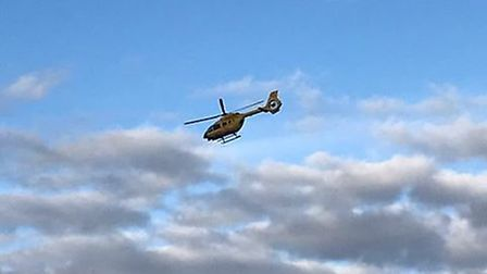 The air ambulance could see seen at the scene of the accident in Bedfield Road in Earl Soham. Pictur
