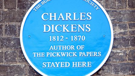 A blue plaque to Charles Dickens at the Angel Hotel in Bury St Edmunds. Picture: ARCHANT