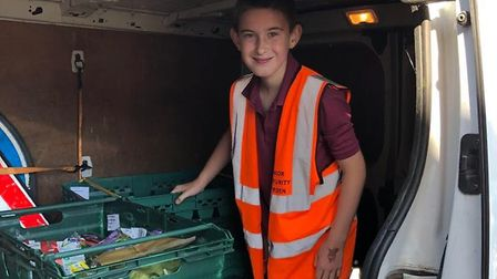Logan has been helping the Sudbury Community Wardens deliver food parcels to vulnerable people isola